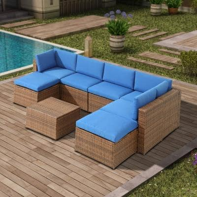 8-Piece Wicker Outdoor Sectional Set with Blue Cushions