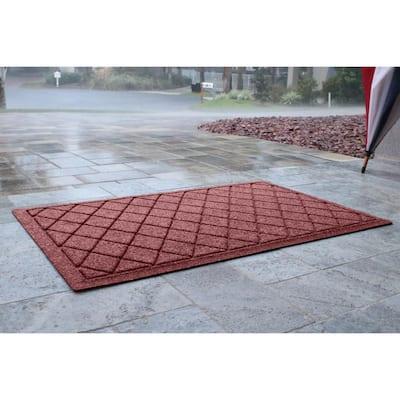 Aqua Shield Argyle Bordeaux 23 in. x 35 in. Recycled Polyester/Rubber Indoor Outdoor Door Mat