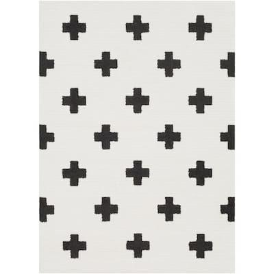 Sulaiman Black/White 7 ft. x 10 ft. Area Rug