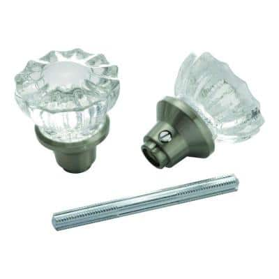 Satin Nickel Glass Knob Set with Spindle