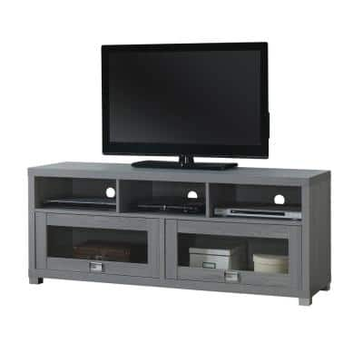 Durbin 57.25 in. Gray Wood TV Stand Fits TVs Up to 65 in. with Storage Doors