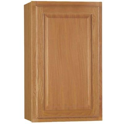 Hampton Assembled 18x30x12 in. Wall Kitchen Cabinet in Medium Oak