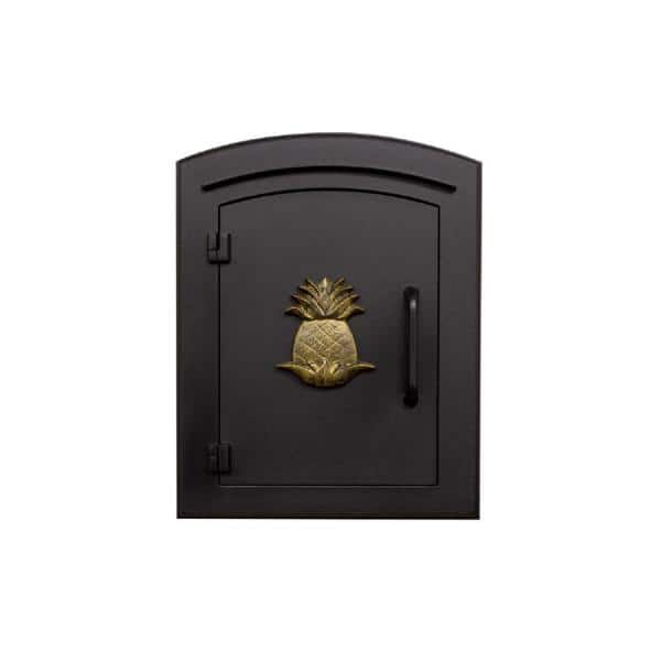 The Manchester Collection Manchester Black Column Mount Non Locking Mailbox With Decorative Pineapple Logo Man 1405 Bl The Home Depot