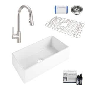 Harper All-in-One Farmhouse Apron Front Fireclay 36 in. Single Bowl Kitchen Sink with Pfister Faucet in Stainless