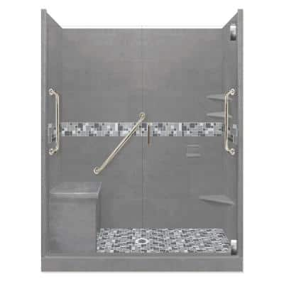 Newport Freedom Grand Hinged 34 in. x 60 in. x 80 in. Center Drain Alcove Shower Kit in Wet Cement and Satin Nickel
