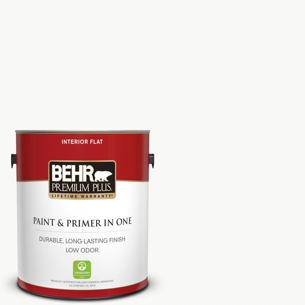 Behr Premium Plus 1 Gal Ultra Pure White Flat Low Odor Interior Paint And Primer In One 105001 The Home Depot