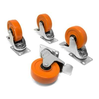 4 in. 285 lbs. Capacity Polyurethane Double Ball-Bearing Swivel Plate Caster with Brake (4-Pack)