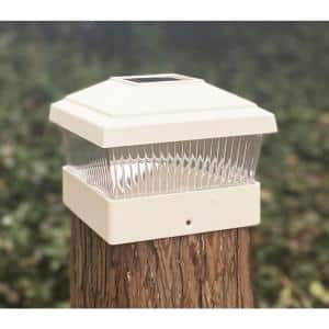 Relightable Solar 5 in. x 5 in. White Vinyl Outdoor Post Cap Deck Lights (4-Pack)