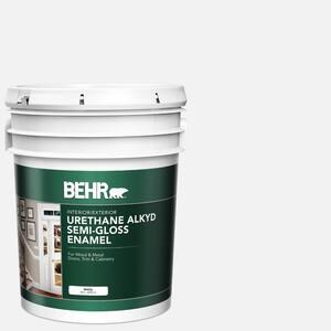 Behr Premium Plus 5 Gal Ultra Pure White Hi Gloss Enamel Interior Exterior Paint 805005 The Home Depot