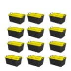 Qt. Plastic Stackable Bin Container, Black & Yellow (12 Pack)