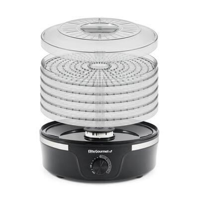 Gourmet 5-Tier Black Food Dehydrator with Adjustable Temperature Dial