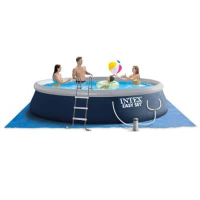15 ft. x 42 in. Easy Set Round Pump 42 in. D Inflatable Pool Above Ground Swimming Pool with Ladder