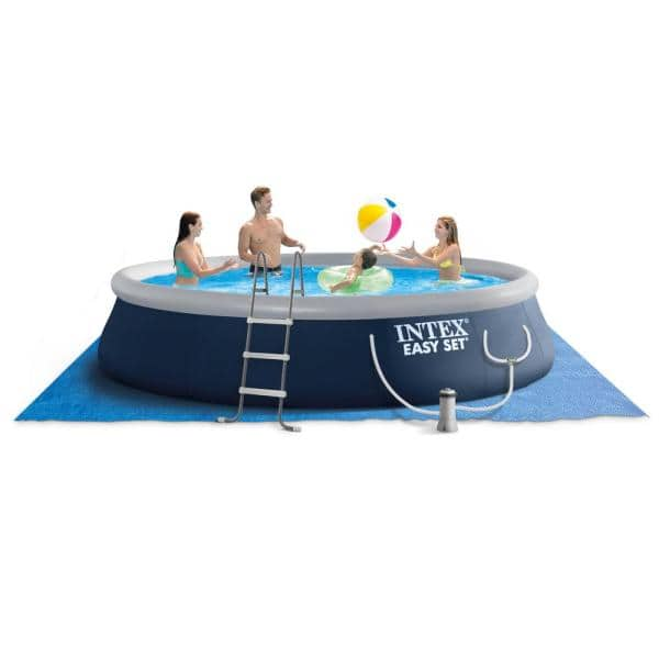 Intex Recreation Corp 15 Ft X 42 In Easy Set Round Pump 42 In D Inflatable Pool Above Ground Swimming Pool With Ladder 26165vm The Home Depot
