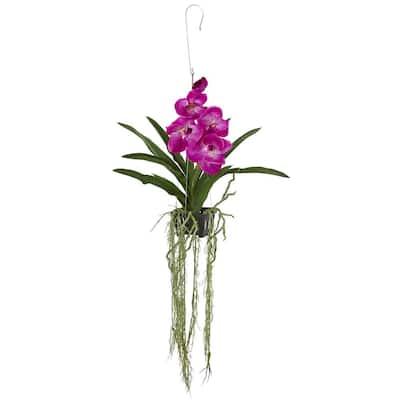 41 in. Vanda Orchid Hanging Basket Artificial Plant