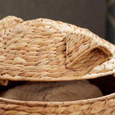 Light Brown Owl Water Hyacinth Woven Decorative Basket with Lid