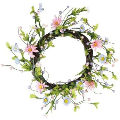 12 in. Unlit Green Pink and Purple Decorative Artificial Spring Floral Twig Wreath