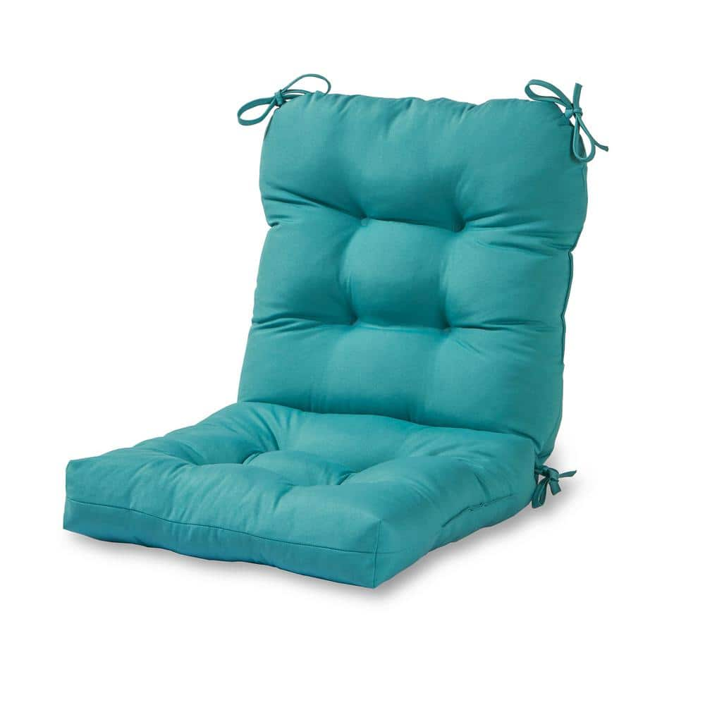 Greendale Home Fashions Solid Teal Outdoor Dining Chair Cushion Oc5815 Teal The Home Depot