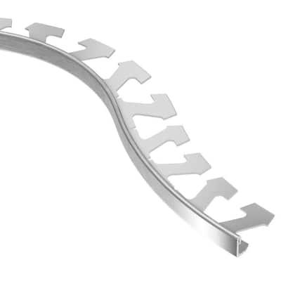 Jolly Brushed Chrome Anodized Aluminum 1/4 in. x 8 ft. 2-1/2 in. Metal Radius Tile Edging Trim