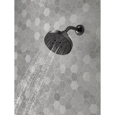 Pivotal 5-Spray 6 in. Single Wall Mount Fixed Rain H2Okinetic Shower Head in Matte Black