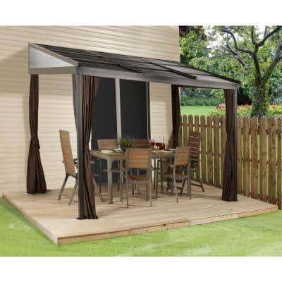 10 ft. D x 12 ft. W Francfort Wall-Mounted Aluminum Gazebo with Galvanized Steel Roof Panels and Mosquito Netting