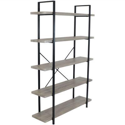 70 in. Oak Gray Industrial Style 5-Tier Bookshelf with Wood Veneer Shelves