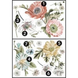Vintage Poppy Floral Peel and Stick Giant Wall Decals