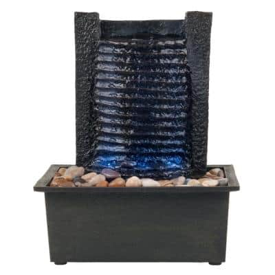 Indoor Tabletop Stone Wall Water Fountain with LED Lights