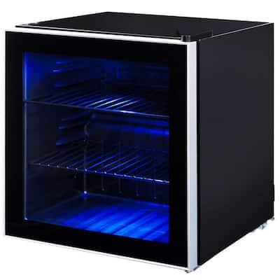 17.5 in. 60-Can Beverage Refrigerator Beer Wine Soda Drink Cooler Mini Fridge Glass Door Black