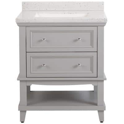 Teasian 31 in. W x 22 in. D Bath Vanity in Sterling Gray with Solid Surface Vanity Top in Silver Ash with White Sink