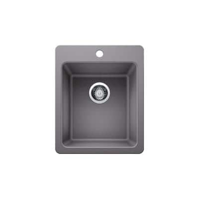 Dual Mount Granite Composite 17 in. Single Bowl Bar Sink in Gray with Faucet