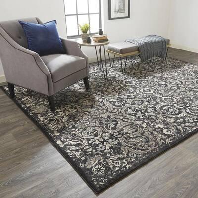 Perry Black/Silver Mink 8 ft. x 11 ft. Floral Polypropylene Area Rug