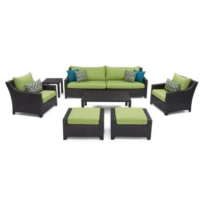 Deco 8-Piece All-Weather Wicker Patio Sofa and Club Chair Deep Seating Set with Sunbrella Ginkgo Green Cushions