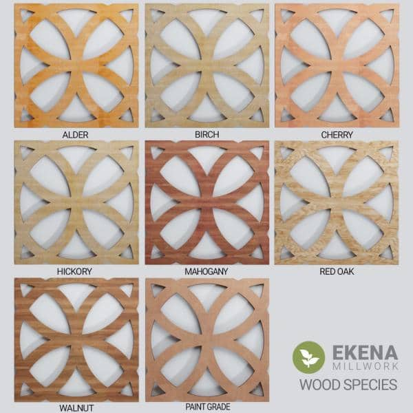 Ekena Millwork 7 3 8 In X 7 3 8 In X 1 4 In Extra Small Allen Decorative Fretwork Wood Wall Panels Red Oak 10 Pack Walw08x08x0250allro Case 10 The Home Depot