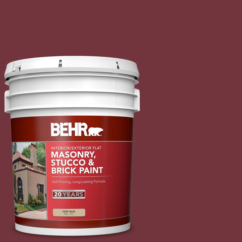 5 gal. #S130-7 Cherry Cola Flat Interior/Exterior Masonry, Stucco and Brick Paint