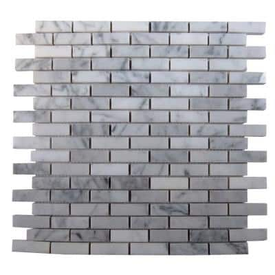 Big Brick White Carrera 3 in. x 6 in. x 8 mm Marble Mosaic Floor and Wall Tile Sample