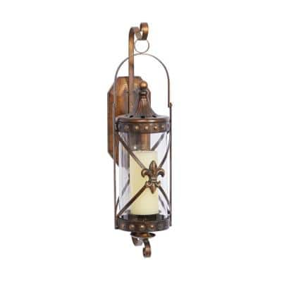 Brown Glass Traditional Candle Wall Sconce