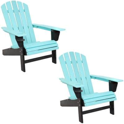 Turquoise/Black HDPE Recycled Plastic Adirondack Chair with Drink Holder (Set of 2)