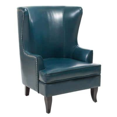 Canterburry Teal Bonded Leather High Back Wing Chair