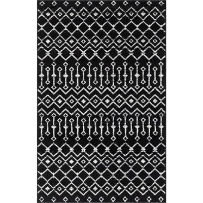 Unique Loom Moroccan Trellis Black 9 Ft X 12 Ft Area Rug 3147670 The Home Depot