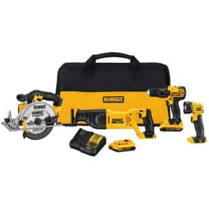 20-Volt MAX Cordless Combo Kit (4-Tool) with (2) 20-Volt 2.0Ah Batteries & Charger