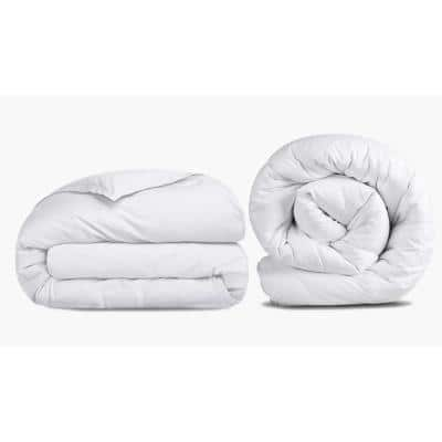 A1HC 4-Piece White Organic Cotton Pure NewZealand Wool Fill King Duvet Cover and Comforter Set