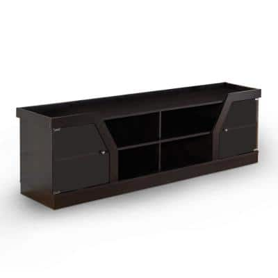 Olenve 71 in. Espresso Particle Board TV Stand Fits TVs Up to 80 in. with Storage Doors