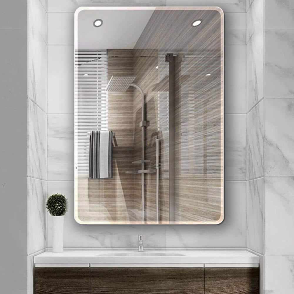 Ello Allo 24 In W X 36 In L Single Frameless Bathroom Wall Mirror Evm S 24 The Home Depot