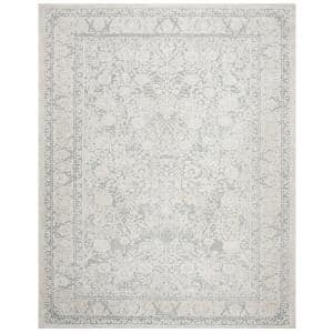 Reflection Light Gray/Cream 8 ft. x 10 ft. Border Distressed Area Rug