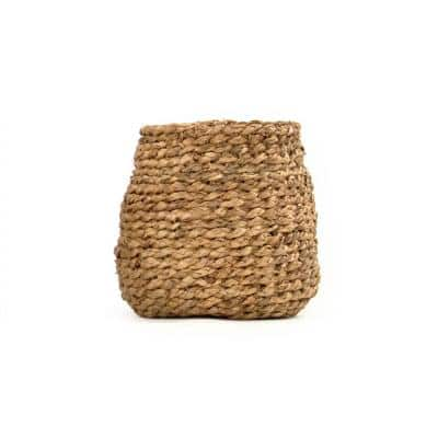 Round Concave Hand Woven Wicker Water Hyacinth Small Basket without Handles
