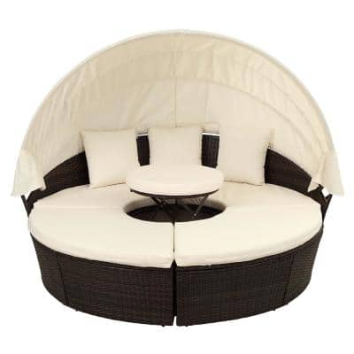 Gigi 5-Piece Rattan Wicker Outdoor Patio Sectional Daybeds Sofa with Beige Cushions and Canopy and 3-Pillows