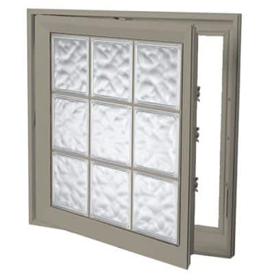 29 in. x 29 in. Left-Hand Acrylic Block Casement Vinyl Window with Driftwood Interior and Exterior