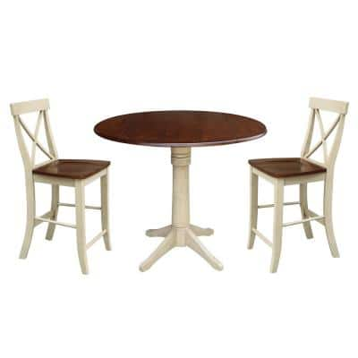 Olivia 3-Piece Almond and Espresso 42 in. Gathering Dropleaf Table and Alexa X back Stool Dining Set