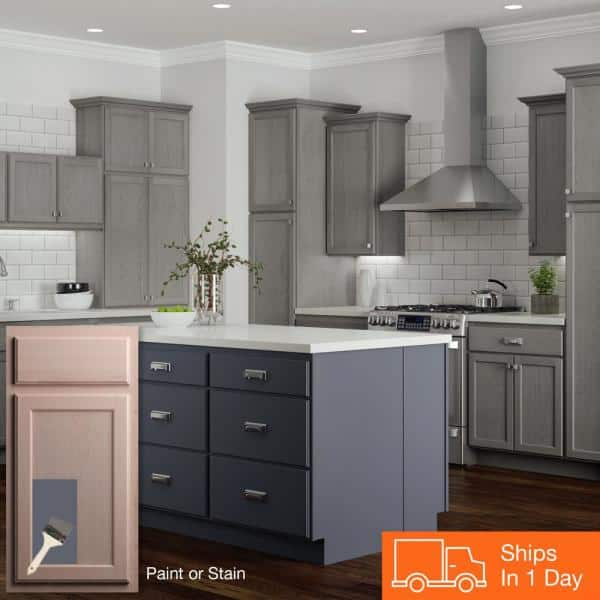 Hampton Bay Hampton Unfinished Beech Raised Panel Stock Assembled Base Kitchen Cabinet With 3 Drawers 18 In X 34 5 In X 24 In Kdb18 Ufdf The Home Depot