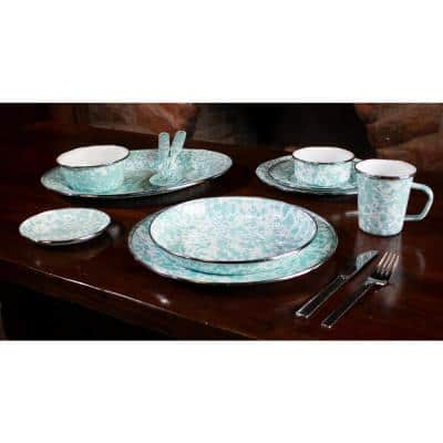 Sea Glass 10.5 in. Enamelware Round Dinner Plate (Set of 4)